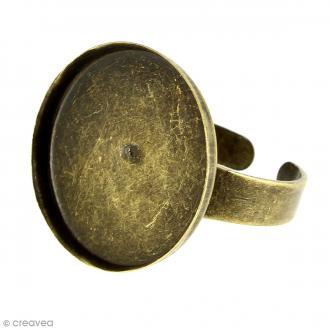 Bague plateau rebord - Rond  - Bronze - 20 mm - 1 pce