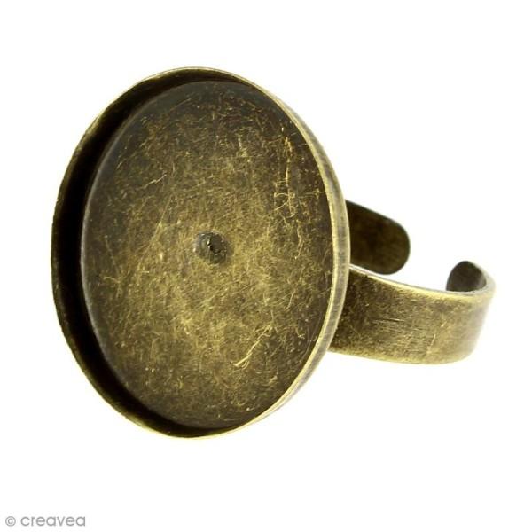 Bague plateau rebord - Rond - Bronze - 20 mm - Avec packaging - 1 pce - Photo n°1