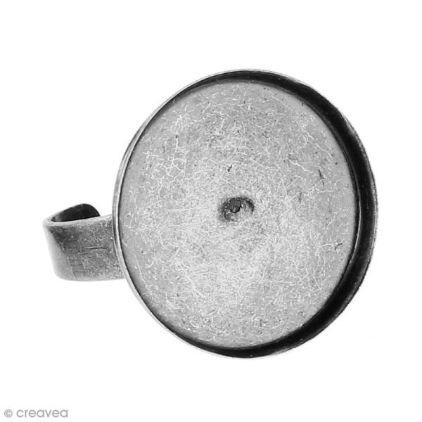 Bague plateau rebord - Rond - Argenté vieilli - 20 mm - Avec packaging - 1 pce - Photo n°3