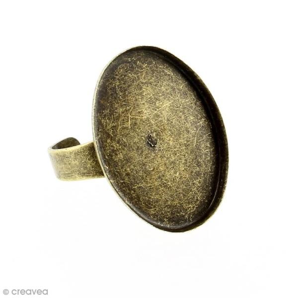 Bague plateau rebord - Ovale - Bronze - 25 x 18 mm - 1 pce - Photo n°1