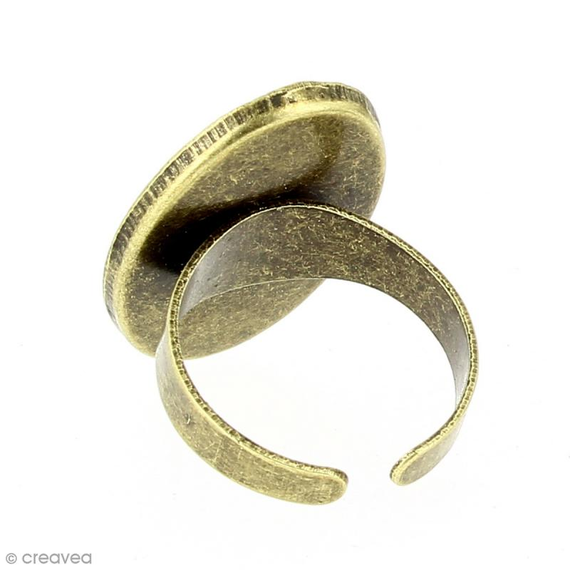Bague plateau rebord - Ovale - Bronze - 25 x 18 mm - 10 pcs - Photo n°2