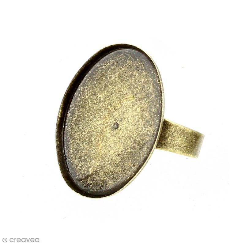 Bague plateau rebord - Ovale - Bronze - 25 x 18 mm - 10 pcs - Photo n°3