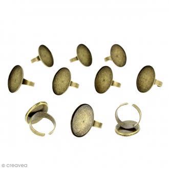 Bague plateau rebord - Ovale - Bronze - 25 x 18 mm - 10 pcs