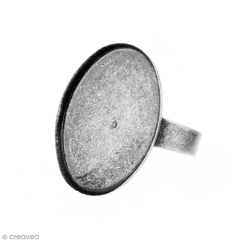 Bague plateau rebord - Ovale - Argenté vieilli - 25 x 18 mm - 10 pcs - Photo n°3