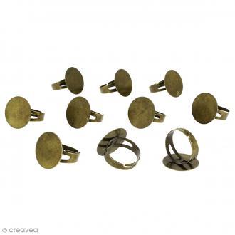 Bague plateau plat - Rond - Bronze - 20 mm - Avec packaging - 10 pcs
