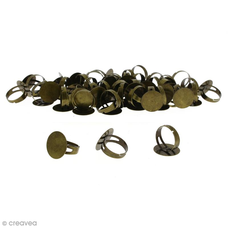 Bague plateau plat - Rond - Bronze - 20 mm - Avec packaging - 50 pcs - Photo n°1