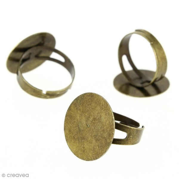 Bague plateau plat - Rond - Bronze - 20 mm - Avec packaging - 50 pcs - Photo n°2