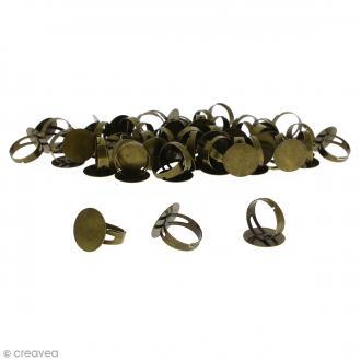 Bague plateau plat - Rond - Bronze - 20 mm - Avec packaging - 50 pcs
