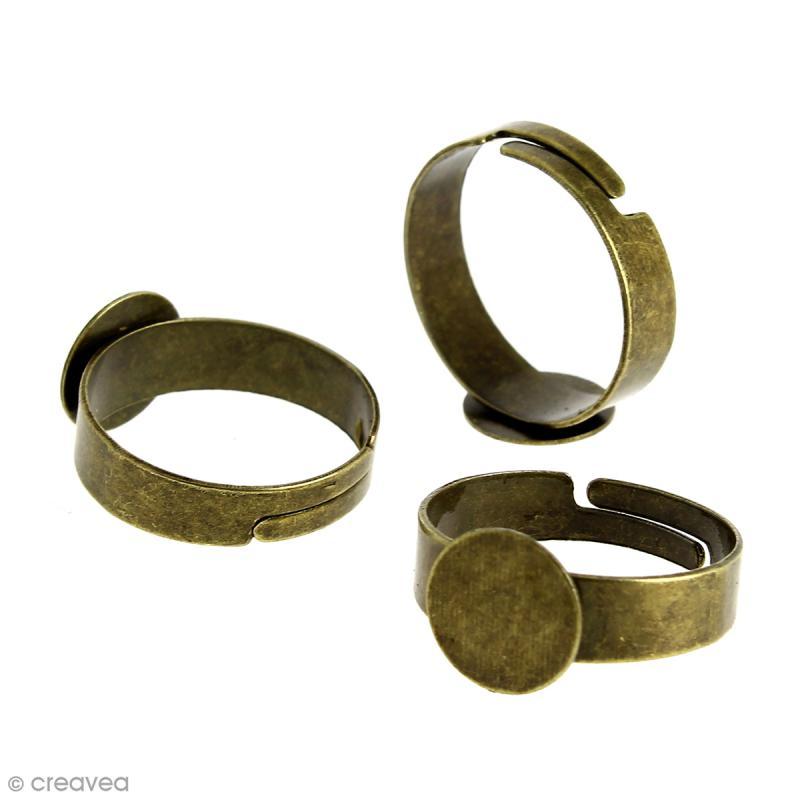 Bague plateau plat - Rond - Bronze - 10 mm - Avec packaging - 10 pcs - Photo n°2