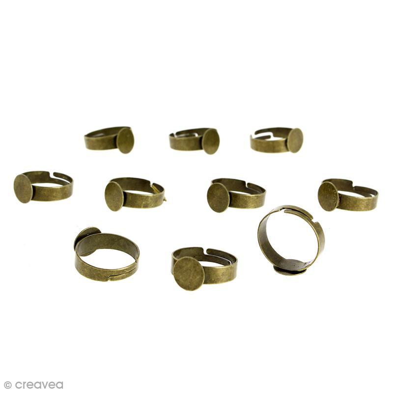 Bague plateau plat - Rond - Bronze - 10 mm - Avec packaging - 10 pcs - Photo n°1