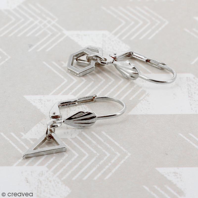 Boucles d'oreilles dormeuses - Coquillage - Argenté - 18 mm - 10 pcs - Photo n°3