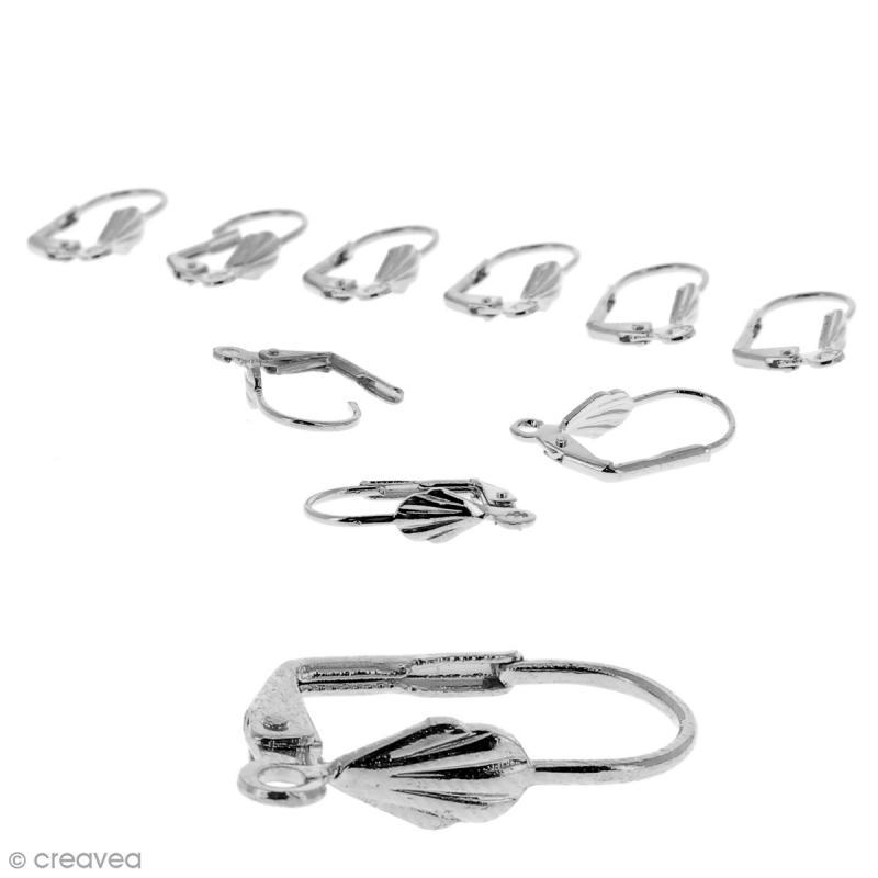 Boucles d'oreilles dormeuses - Coquillage - Argenté - 18 mm - 10 pcs - Photo n°1