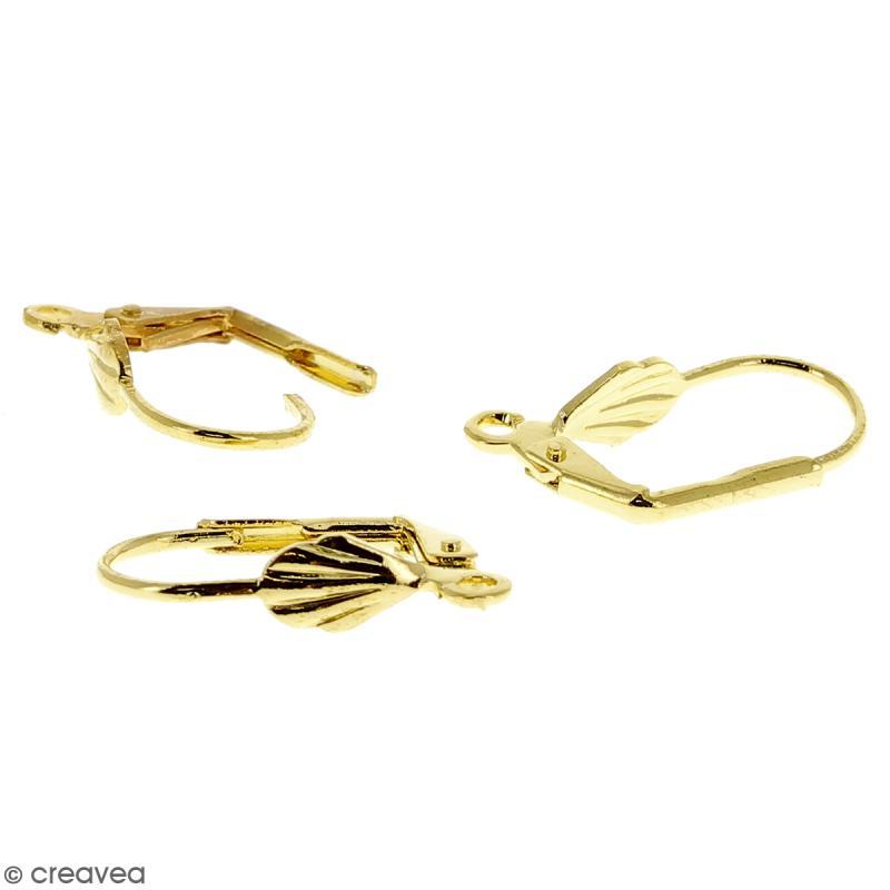 Boucles d'oreilles dormeuses - Coquillage - Doré - 18 mm - 10 pcs - Photo n°3