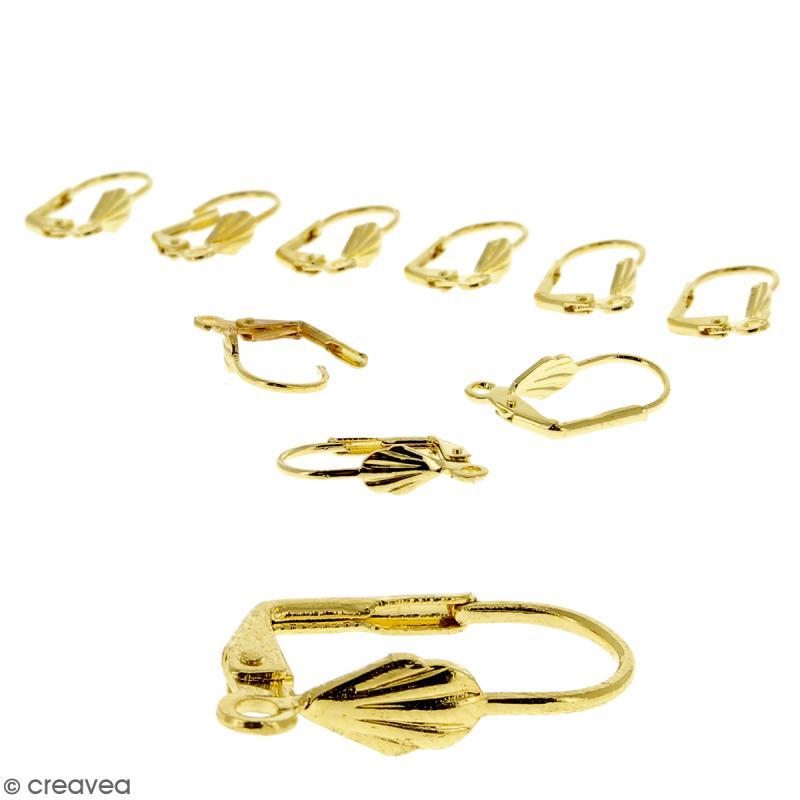 Boucles d'oreilles dormeuses - Coquillage - Doré - 18 mm - 10 pcs - Photo n°1