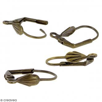 Boucles d'oreilles dormeuses - Coquillage - Bronze - 18 mm - 4 pcs