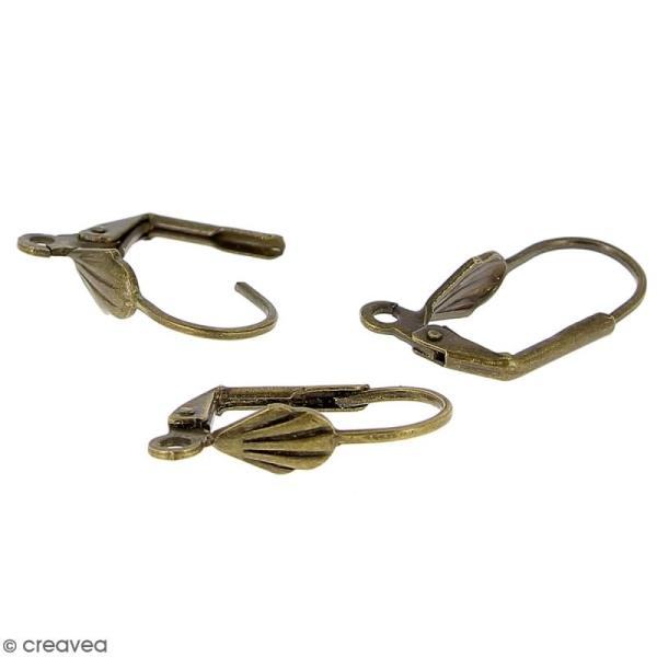 Boucles d'oreilles dormeuses - Coquillage - Bronze - 18 mm - 10 pcs - Photo n°3
