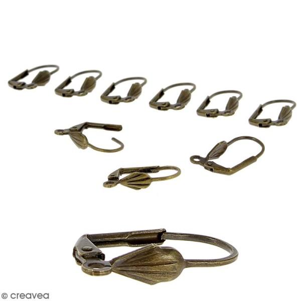 Boucles d'oreilles dormeuses - Coquillage - Bronze - 18 mm - 10 pcs - Photo n°1
