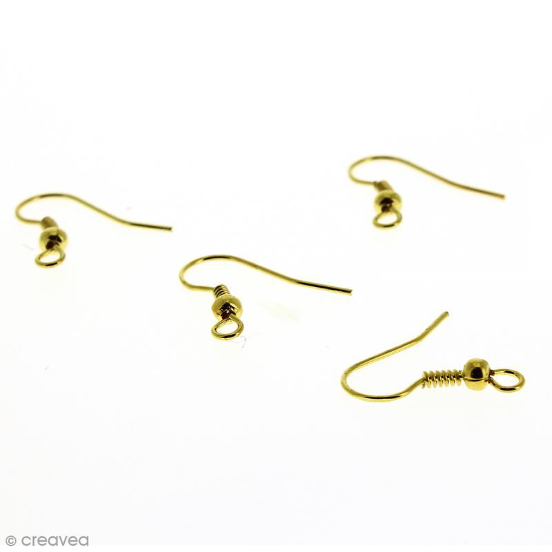 Crochets d'oreilles avec anneau - Doré - 18 mm - 4 pcs - Photo n°1