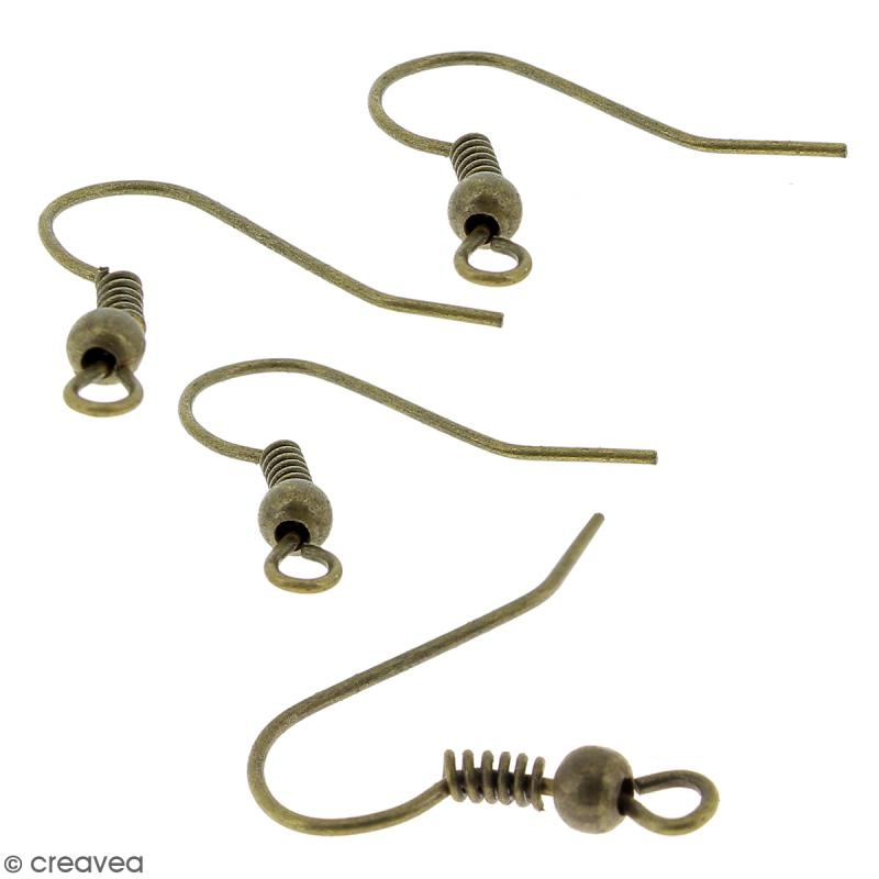 Crochets d'oreilles avec anneau - Bronze - 18 mm - 50 pcs - Photo n°2
