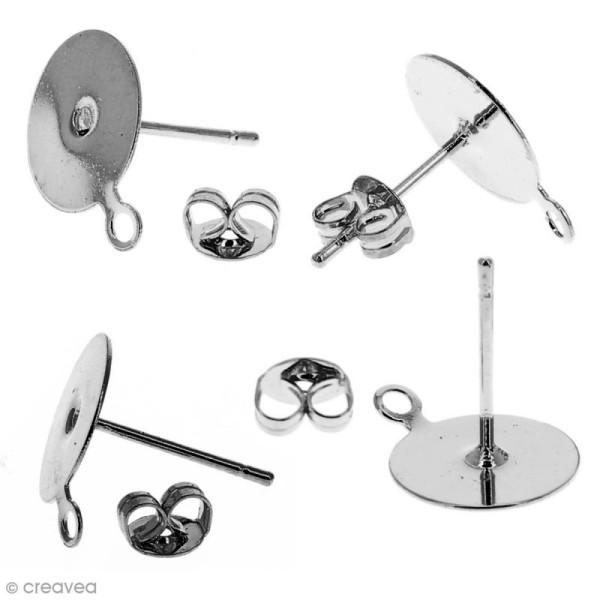 Clous d'oreilles à décorer avec anneau - Argenté - 10 pcs - Photo n°2