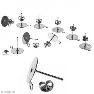 Clous d'oreilles à décorer avec anneau - Argenté - 10 pcs