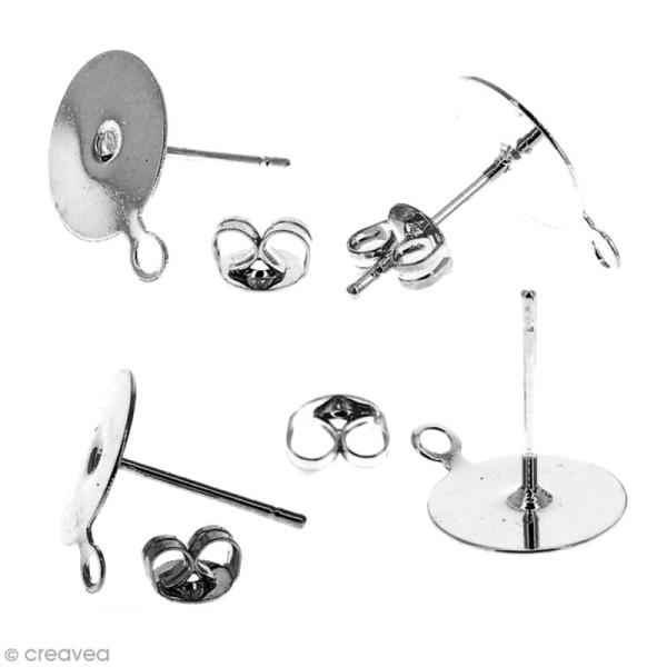 Clous d'oreilles à décorer avec anneau - Argenté - 50 pcs - Photo n°2