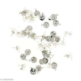 Clous d'oreilles à décorer avec anneau - Argenté - 50 pcs