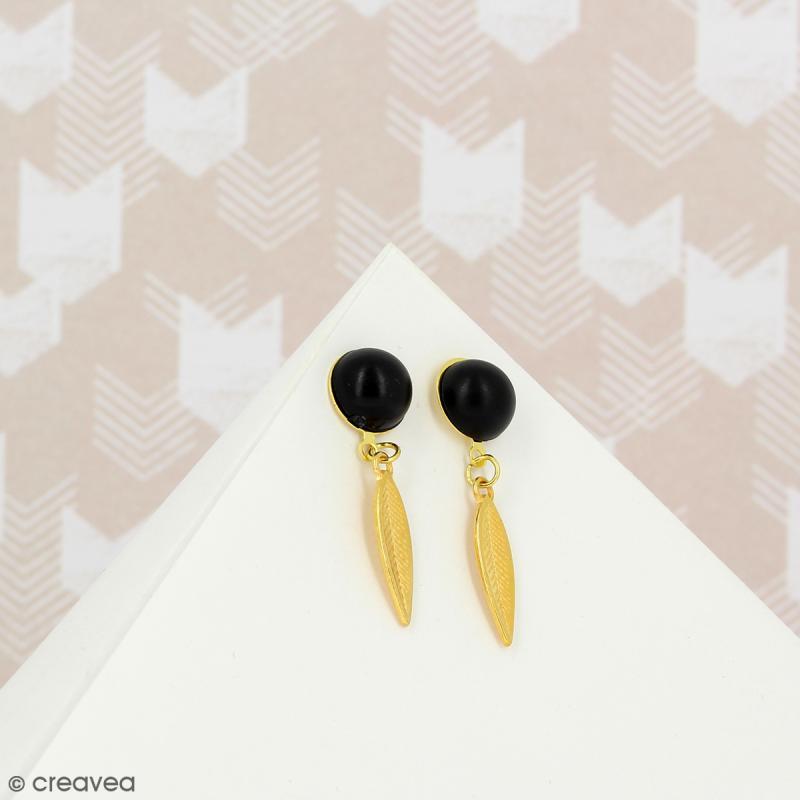 Clous d'oreilles à décorer avec anneau - Doré - 10 pcs - Photo n°2