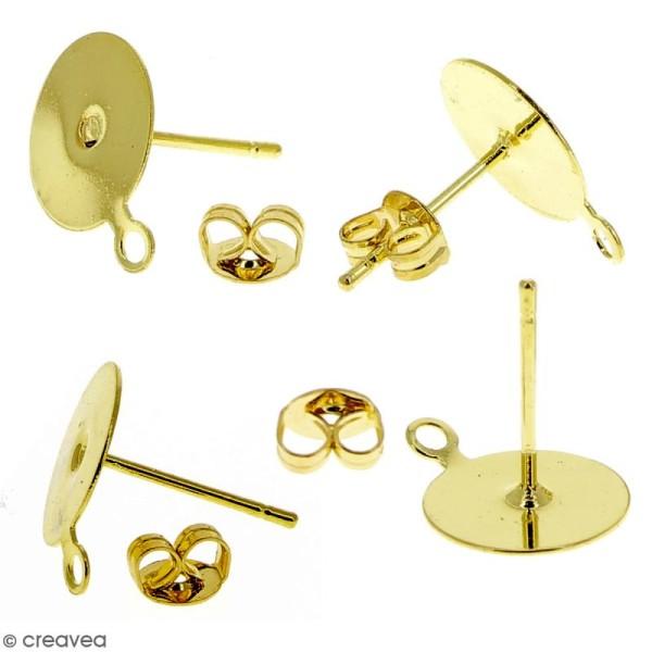 Clous d'oreilles à décorer avec anneau - Doré - 10 pcs - Photo n°3