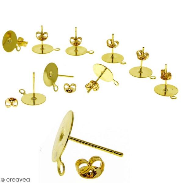Clous d'oreilles à décorer avec anneau - Doré - 10 pcs - Photo n°1