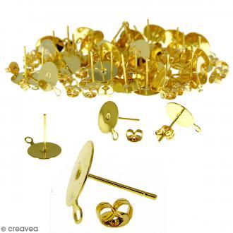 Clous d'oreilles à décorer avec anneau - Doré - 50 pcs