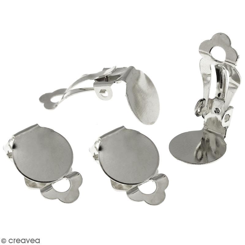 Boucles d'oreilles à clip - Argenté - 22 mm - 4 pcs - Photo n°1