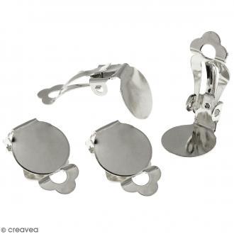 Boucles d'oreilles à clip - Argenté - 22 mm - 4 pcs