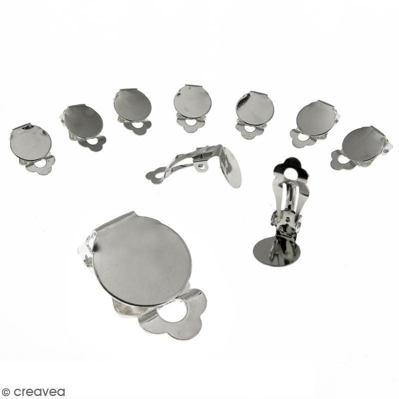 Boucles d'oreilles à clip - Argenté - 22 mm - 10 pcs - Photo n°1