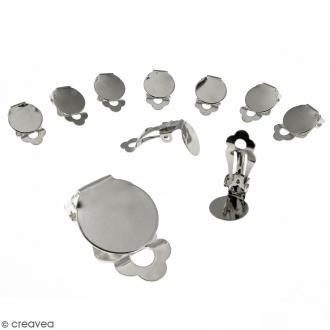 Boucles d'oreilles à clip - Argenté - 22 mm - 10 pcs