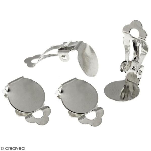 Boucles d'oreilles à clip - Argenté - 12 mm - 50 pcs - Photo n°3