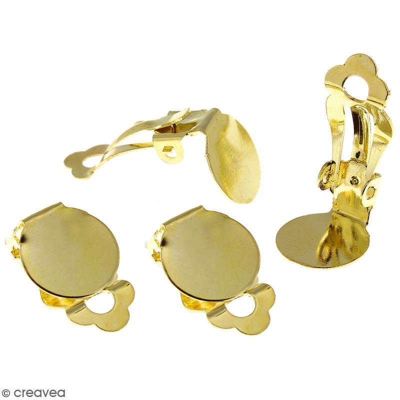 Boucles d'oreilles à clip - Doré - 22 mm - 4 pcs - Photo n°1