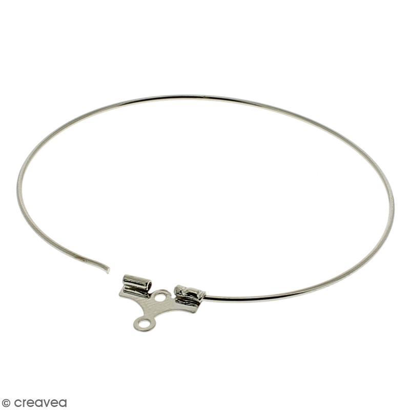 Boucles d'oreilles créoles - Argenté - 41 mm - 4 pcs - Photo n°2