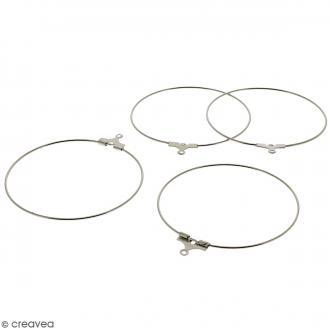 Boucles d'oreilles créoles - Argenté - 41 mm - 4 pcs