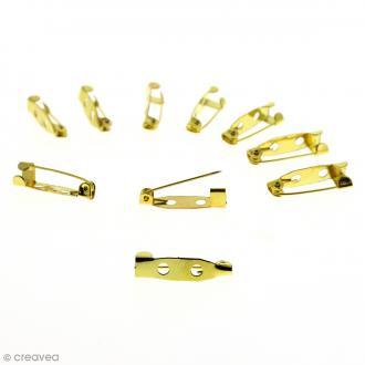 Support broche - 2 trous - Doré - 2 mm - 10 pcs