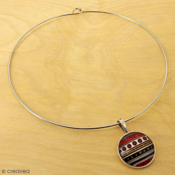 Collier tour de cou rigide - Argenté - 14 cm - 1 pce - Photo n°2