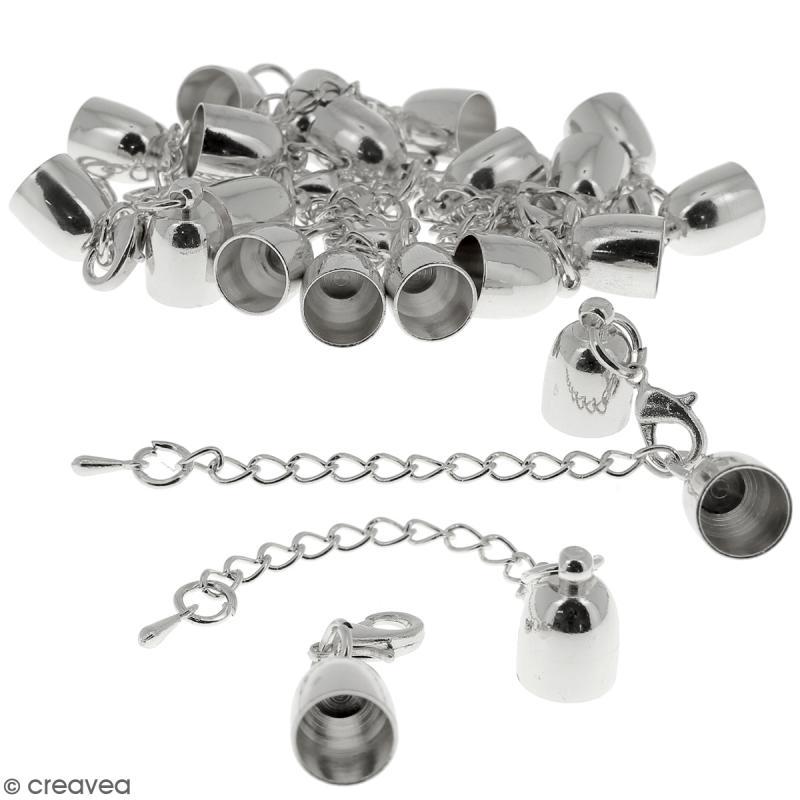 Fermoir embout cloche avec chainette - Pour cordon 8 mm - Argenté - 10 pcs - Photo n°1