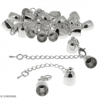 Fermoir embout cloche avec chainette - Pour cordon 8 mm - Argenté - 10 pcs