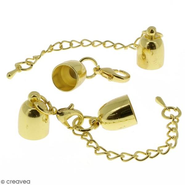 Fermoir embout cloche avec chainette pour cordon 8 mm - Doré - 2 pcs - Photo n°1