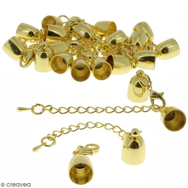 Fermoir embout cloche avec chainette pour cordon 8 mm - Doré - 10 pcs - Photo n°1