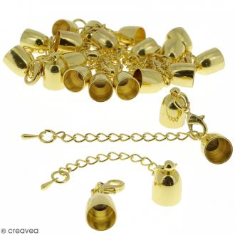 Fermoir embout cloche avec chainette pour cordon 8 mm - Doré - 10 pcs