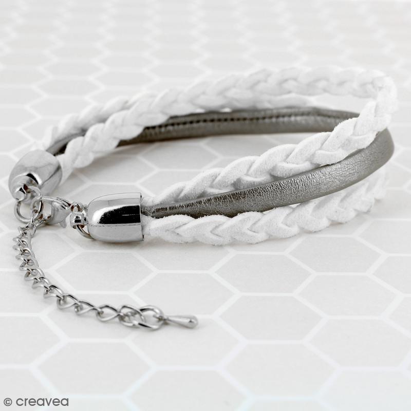 Fermoir embout cloche avec chainette - Pour cordon 5 mm - Argenté - 2 pcs - Photo n°3