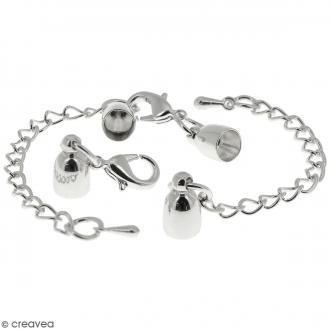 Fermoir embout cloche avec chainette - Pour cordon 5 mm - Argenté - 2 pcs