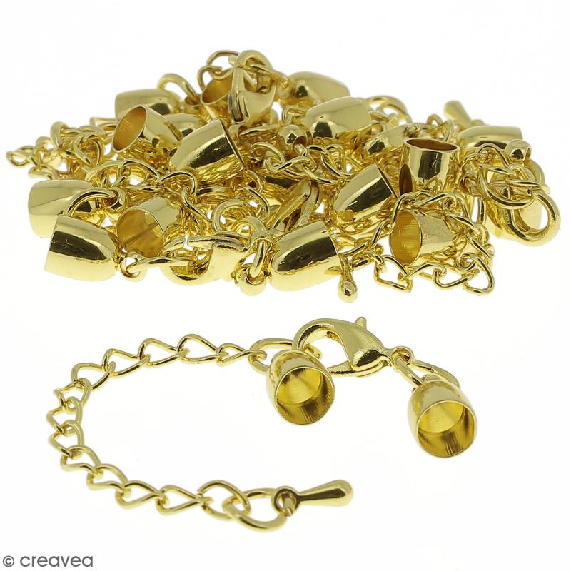 Fermoir embout cloche avec chainette - Pour cordon 5 mm - Doré - 10 pcs - Photo n°1