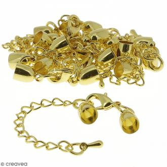 Fermoir embout cloche avec chainette - Pour cordon 5 mm - Doré - 10 pcs
